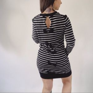 FRENCH CONNECTION Bow Back Striped Sweater Dress
